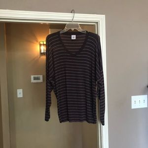 CAbi Long Sleeved Striped Plum|Gray Tee Style 3998